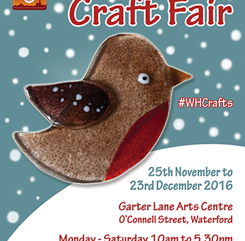 Knitted foxes at the Waterford Homecrafts Christmas Craft Fair 2016, featuring over 40 crafts people.