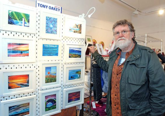Kilkenny artist Tony Oakey displaying his artwork